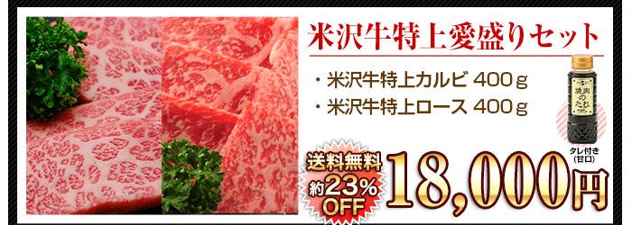 米沢牛通販の焼肉用米沢牛 特上愛盛りセットのバナーです。